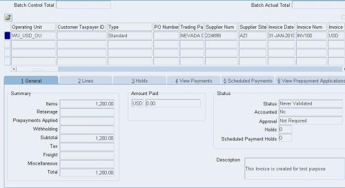 Oracle Payable Open Interface Import